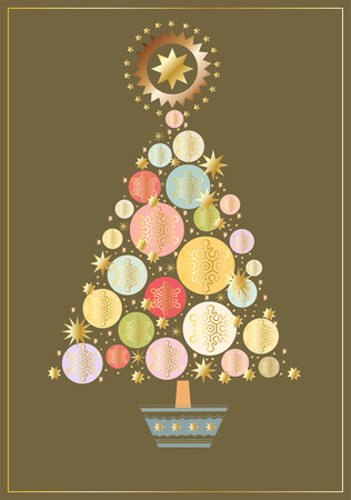 Kerstboom gemaakt van sterren, cirkels en sneeuwvlokken