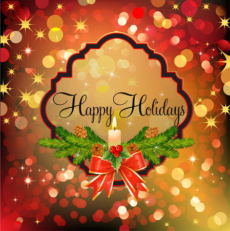 Happy Holidays badge over red and gold abstract background