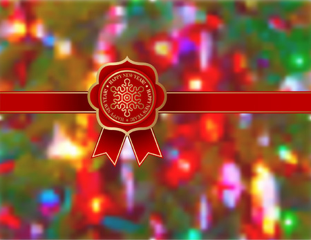 Red ribbon and Happy New Years badge over abstracted Christmas background Çizim