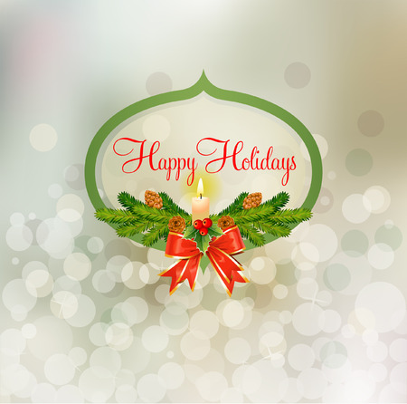 Happy Holidays badge over abstracted snowy background