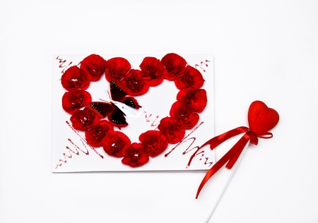 red heart and postcard for st. valentines day