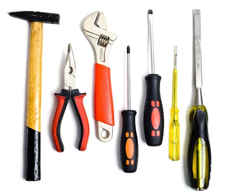 crescent wrench: Set of tools isolated on white background