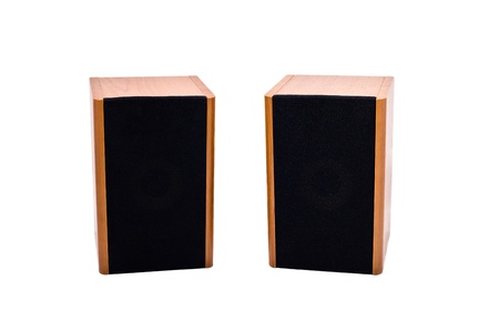 Two audio speakers isolated on white background Stock Photo