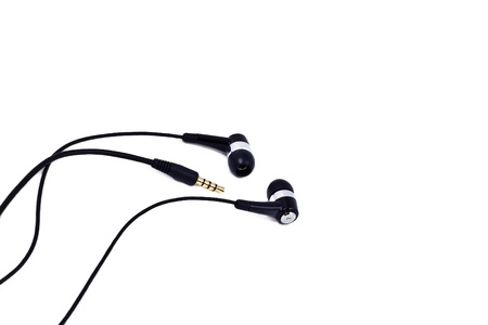black earphones isolated on white background Stock Photo