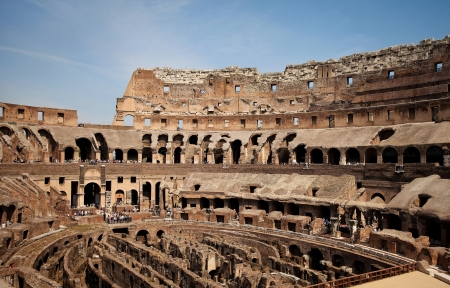 View of Coliseums ruins in Rome Stock Photo