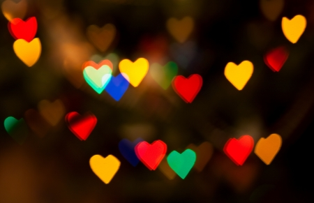 Abstract heart bokeh of christmas lights for background