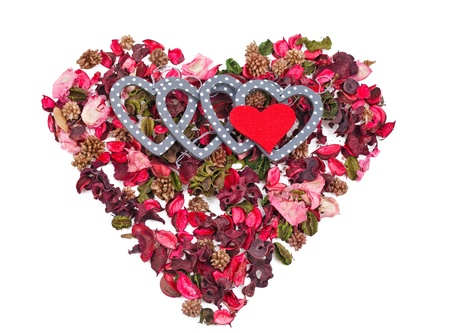 five hearts in the background of petals in the form of a heart over white Stock Photo - 17596532
