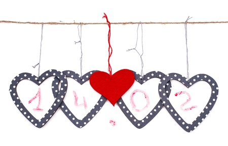 heart shaped stuff: hearts with the date islated over white background