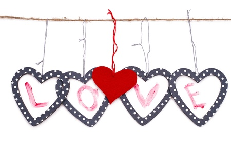 hearts with the word love islated over white background Stock Photo - 17596573