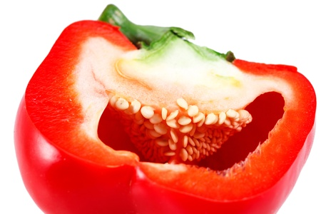 red juicy pepper isolated over white background