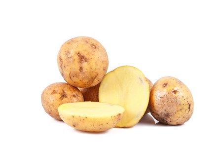 fresh potatoes isolated over white background