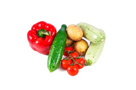 a group of fresh vegetables isolated on white background Stock Photo