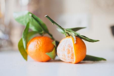 two fresh juicy tangerines