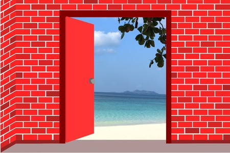 Open the red door to the beach. Stock Photo