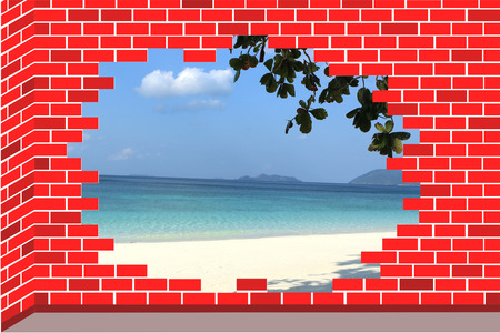 A beach in broken brick wall. a rift in brick wall.