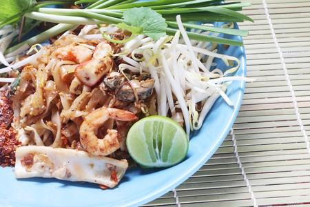 Pad Thai, Thai dish based on rice noodles.
