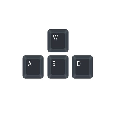 W, A, S and D computer key button vector isolated on white background. They are used in place of the arrow keys. Illusztráció