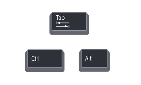 Control (Ctrl), Alternate (Alt) and Tab computer key button vector isolated on white background. Ctrl Alt Tab use for as the arrow keys to switch between all open apps.