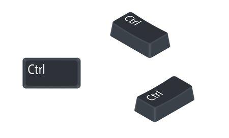 Bouton de contrôle (Ctrl) de l'ordinateur isolé sur fond blanc. Illustration vectorielle.