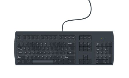 Black wired computer keyboard isolated on white background. Keypad buttons. Vector illustration.