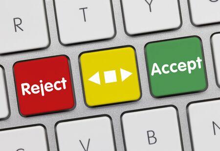 Reject or accept Written on Key of Metallic Keyboard. 版權商用圖片