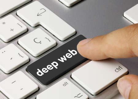 deep web Written on Black Key of Metallic Keyboard. Finger pressing key. Standard-Bild