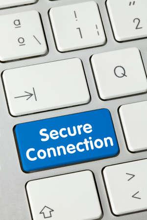 Secure connection Written on Blue Key of Metallic Keyboard. Finger pressing key. Stock fotó - 154767178