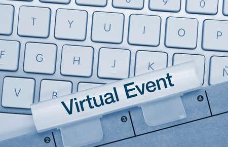 Virtual Event Written on Blue Key of Metallic Keyboard. Finger pressing key.
