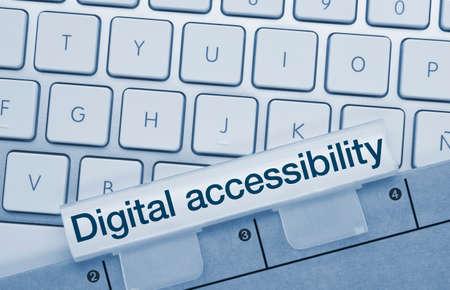Digital accessibility Written on Blue Key of Metallic Keyboard. Finger pressing key. Stok Fotoğraf