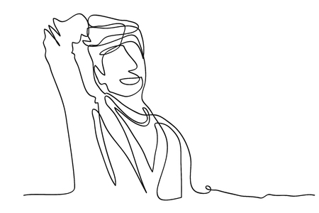 continuous line drawing of a businessman vector illustration Illustration