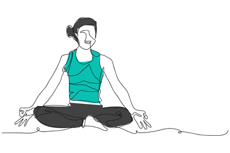 continuous line drawing of woman exercise yoga vector illustration