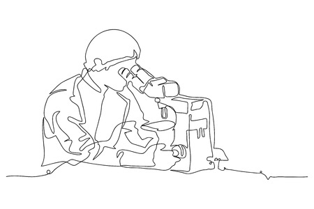 continuous line drawing of researchers vector illustration.