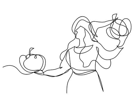 continuous line drawing of a beautiful woman witch Halloween. linear style and Hand drawn Vector illustrations, character design outline collection, cartoon doodle style.