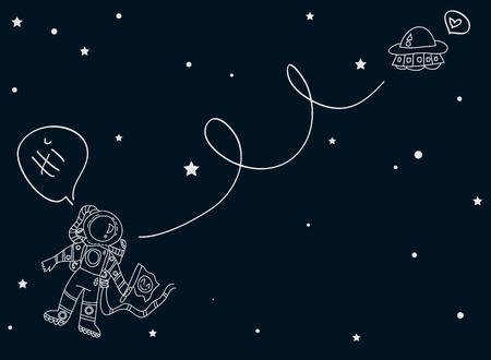 Set with astronomical  spaceships stations and planets decorative flat vector illustration