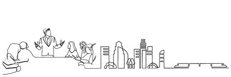 dessin au trait continu ingénieur bâtiment Construction supervision vector illustration simple.industry Vecteurs