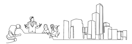 continuous line drawing engineer building Construction supervision vector illustration simple.industry
