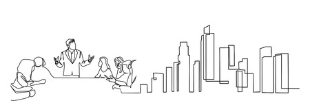 continuous line drawing engineer building Construction supervision vector illustration simple.industry Illustration
