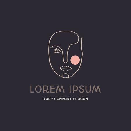 Continuous line woman face beauty fashion logo design concept template vector illustration