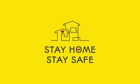 Stay home, stay safe poster, continuous lines  Text for design for  self protection times and home awareness social media campaign and corona virus prevention - Vector illustration. Yellow background. Illustration