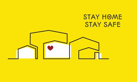 Stay home, stay safe poster, continuous linesText for design forself protection times and home awareness social media campaign and corona virus prevention - Vector illustration. Yellow background. Illustration