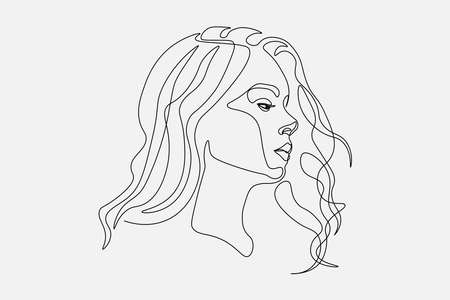 Continuous line, drawing of set faces and hairstyle, fashion concept, woman beauty minimalist, vector illustration pretty sexy. for t-shirt, slogan design print graphics style Çizim