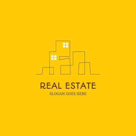 Modern real estate Building inspirational logo designs with line designs simple continuous line vector illustration 일러스트