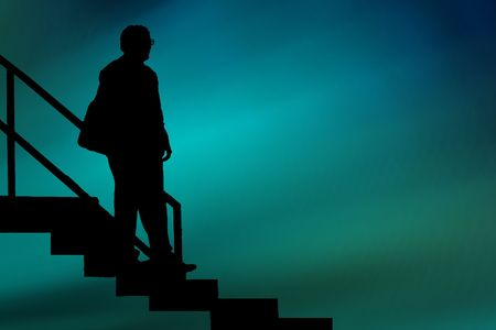 descending: Abstract silhouette of man descending stairs   Stock Photo