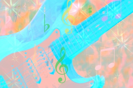 Collage with Guitar and Music photo