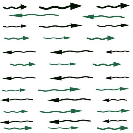 flechas curvas: Flechas curvas verde y negro que apunta hacia la izquierda o la derecha en una p�gina en blanco Foto de archivo