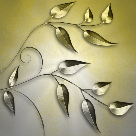 Gold and siver background with gold and silver branches and leaves photo