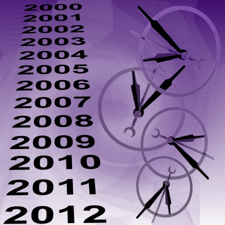 time fly: Clocks and years to indicate time passing black on lavender background Stock Photo