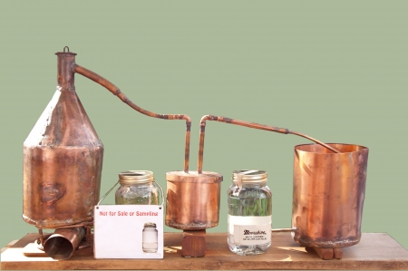 Table top model of still for making moonshine Stock Photo - 21776455
