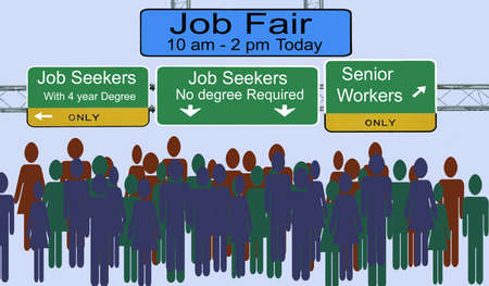 Street signs advertising job fair for different types of employees Imagens