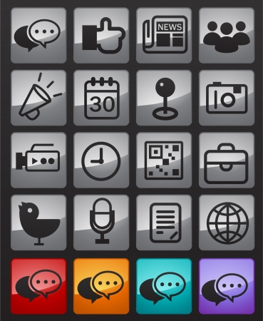 brief case: Social Network Icon in Glossy Bottom